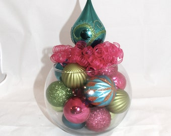 Pink, Turquoise and Green Christmas Centerpiece - Unique Holiday Decoration