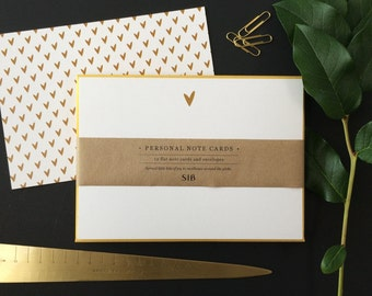 Gold Hearts // Stationery Note Card Set