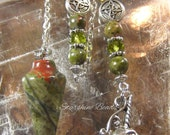 Unakite Unicorn Pendulum - Unakite Pendulum, Unicorn Pendulum, Pendulum, Divination, Dowsing, Metaphysical, Mythical, Pagan, Beaded Pendulum