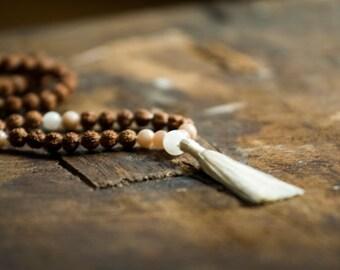 Hata Mala Necklace – Blancing, Prayer Beads, Healing Jewelry, Buddhist Necklace, Japa Mala, Rudraksha, Moonstone, Sunstone