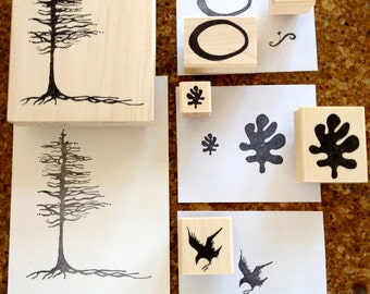 6 RubberMoon Artist/Nature Stamp set created by Teresa C. Kolar