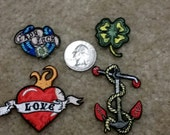 4 Assorted Patches - Lady Luck, Love, 4 Leaf Clover, Anchor   - Iron On Patches