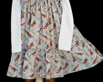 Hand-smocked cotton dress, age 5 to 6, with platypuses and gum leaves