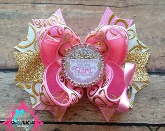 Pink & Gold Bow-Tiara Bow- Pink Bow-Gold Bow-Princess Bow