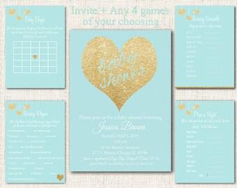 Blue Baby Shower Invitation Printable, Boy baby shower invite, Gold and Blue Baby Shower Party Package, Games, Gold Glitter,  Digital, DIY