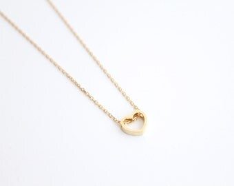 Open Heart Necklace - gold heart, bridesmaid necklace, gold, hand stamped