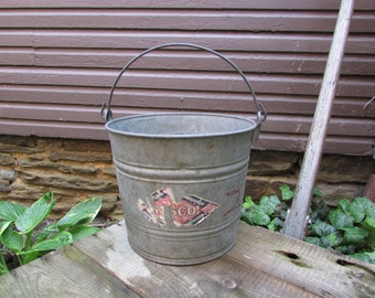 Vintage Nesco Galvanized Bucket. Pail.  Feed Bucket. Garden. Planter. Flower Pot