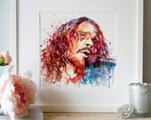 Chris Cornell Watercolor Wall art Digital painting Square art Soundgarden Rock poster Celebrities Home decor art Printable art Aquarelle