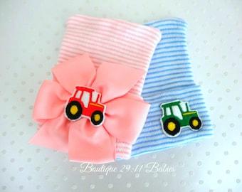 Newborn Tractor Hat-baby girl tractor hat-White tractor hat-infant tractor hat