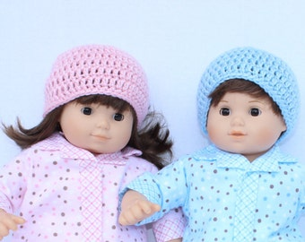 American Girl Bitty Twin Doll Accessories: Crocheted Hats in Pink and Blue