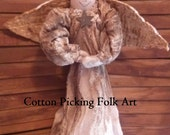 Primitive Angel Tree Topper Chenille Robe Quilted Wings
