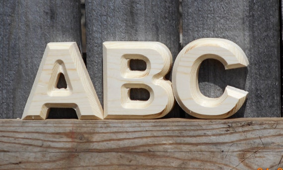 Real wood pine alphabet letters 3 inch high 3 4 by for 3 inch wooden letters