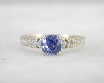 Gorgeous Periwinkle White Gold, Diamond and Ceylon Sapphire Engagement Ring 1JTD1E-D
