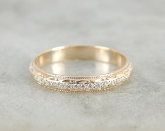 Etched Motif and Diamond Wedding Band in Yellow Gold TUWNEH-R