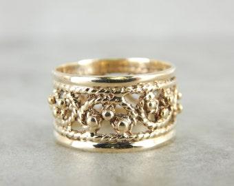 Gold Wedding or Stacking Band, Vintage Filigree M3MEVL-R