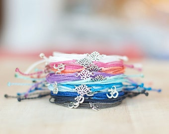 Yoga Bracelets - Lotus bracelet Ohm Bracelet Om bracelet - Waxed polyester  - Custom - Choose your own color