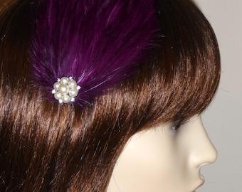 Plum Purple Feather and Pearl Fascinator HAIR CLIP Handmade Bridal Wedding Bridesmaids Hair Accessory