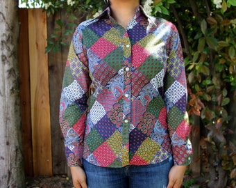 Vintage Wing Collar Patchwork Blouse