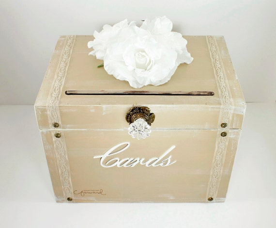 Vintage Wedding Gift Card Boxes : Vintage Taupe Wooden Wedding Card Box Trunk. Shabby Chic Wedding Decor ...