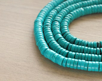 40 pcs of Natural Turquoise Wheel Beads
