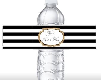 INSTANT DOWNLOAD Black & White Stripe Gold Glitter Water Bottle Label - Editable Water Bottle Label DIY Label 0134 0150 0129 0152 0223 0224