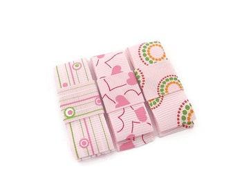 Baby Pink Hair Clips/ Hair Clip Set/ Heart Hair Clips/ Printed Hair Clips/ Baby Girl Hair Clips/ Kids Hair Accessories