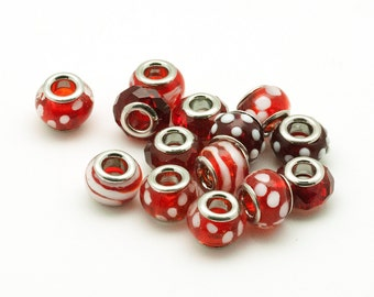 Lampwork Big Hole Beads, 7 Pieces Assorted Red and White Glass Beads, Charm Bracelets Components, Beaded Jewelry Parts and Findings