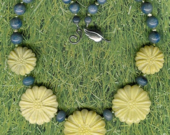 Spring Flowers - Carved Aventurine Gemstone Flowers, Blue Aventurine, Freshwater Pearls, Sterling Silver Necklace