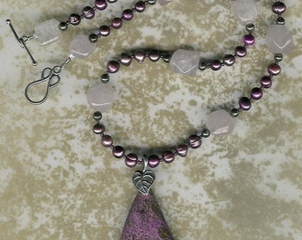 Tasmanian Devil - Stichite, Rose Quartz, Freshwater Pearls, Pyrite, Garnet, Sterling Silver Necklace