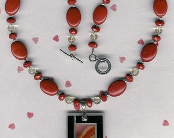 Sun Streaked - Picture Jasper Intarsia Pendant, Red Jasper, Citrine, Sterling Silver Necklace