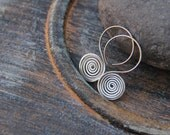Spiral earrings on hoop earwire  in sterling silver, bronze or copper, tribal earrings, round, rustic, ethnic, ancient, oxidized, antique