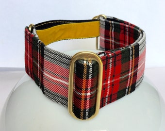 "Tartan Simple Adjust Martingale Collar in 1.5""/38mm and 2""/50mm with solid brass fittings, velvet and polypropylene webbing"