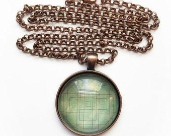 Vintage Green Mandala Necklace