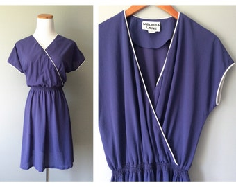 Vintage 1970's Dress Slate Blue Grey White Piping Vintage Summer Dress Simple Lightweight Dress Vintage Knee Length Dress Size 16 Large XL