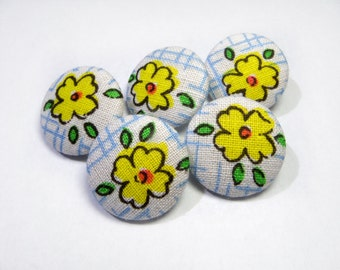 Floral yellow buttons, cloth buttons, Fabric Covered Buttons, small buttons, children buttons, plastic shank girl buttons