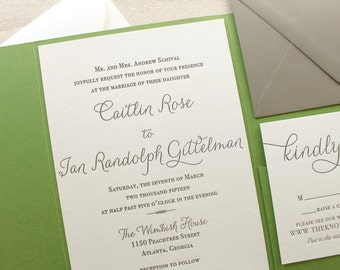 The Rosemary Suite - Modern Letterpress Wedding Invitation Suite, Green, Black, Grey, Liner, Calligraphy, Script, Swirls, Simple, Classic