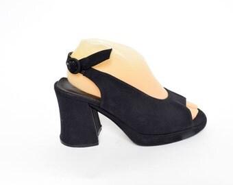 Vintage 90's Black Chunky Heels Slingback Sandals