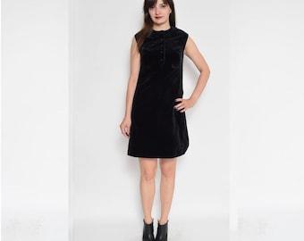 Vintage 70's Black Velvet  Dress