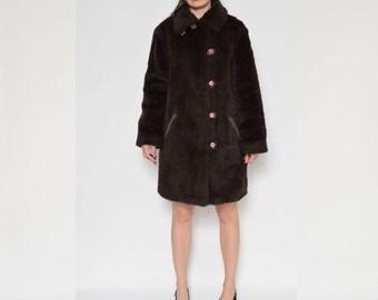 Vintage 80's Faux Fur Brown Jacket Coat