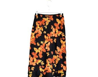 Butterflies Cotton Half Slip - Vintage 50s Black Cotton Half Slip or Slim Skirt - Scallop Edged 1950s Butterfly Slip