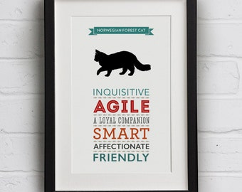 Norwegian Forest Cat Breed Traits Print - Great Gift for Norwegian Forest Cat Lovers