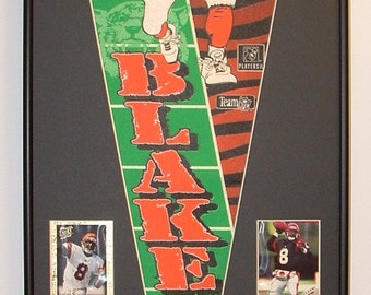 Cincinnati Bengals Jeff Blake Pennant & Cards...Custom Framed