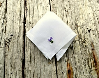 Sweet Pea Linen Hankerchief, Tiny Flower Handkerchief, Womens Hankie, Floral Handkerchief, Hand Embroidered Sweet Pea Hankerchief, Garden