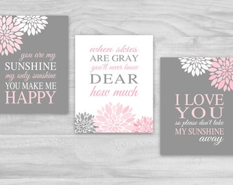 You Are My Sunshine Nursery Decor Pink Gray Flowers Canvas SALE or Print Lyrics Wall Art Set of 3 Baby Shower Gift Baby Girl Wall Decor