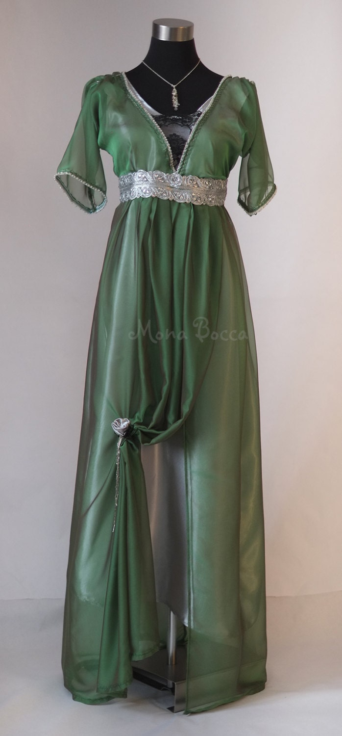 Edwardian Emerald Evening Dress Handmade In England Downton