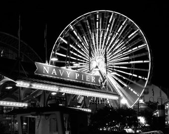 Navy Pier art photo print, Chicago photography, Ferris Wheel picture, black night, wall decor gift 8x10 12x12 12x16 16x20 20x30 large canvas