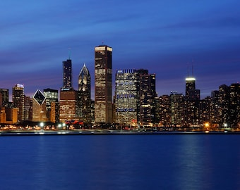 Chicago skyline photography - art photo print 8x10 picture gift - city downtown blue cityscape home decor 12x12 16x20 20x30 large canvas
