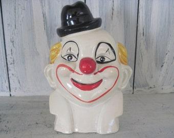 Vintage ceramic clown figurine piggy bank, piggy bank for boys girls, clown with hat statue figurine piggy bank, vintage art and collectible