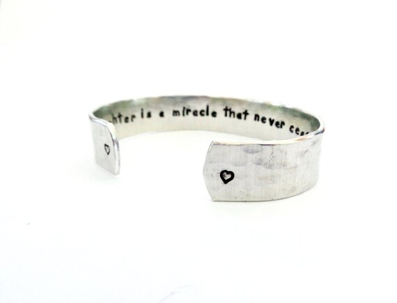 Gift Ideas | Daughter Gift | Graduation Gift | Friend Gift | A daughter is a miracle... Custom Hand Stamped Cuff Bracelet,Customizable