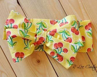 Yellow Cherry Headwrap - Yellow Bow Headwrap - Yellow Bow